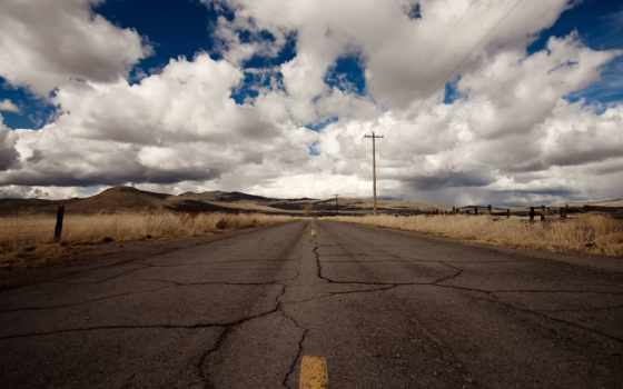 дорога, горизонт, route, небо, oblaka, холмы, трещины,