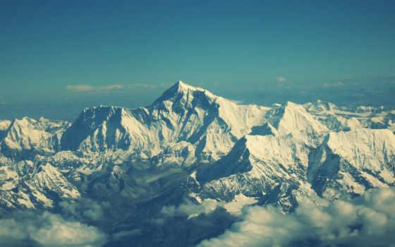 oblaka, горы, снег, everest, взгляд, landscape, гора, mountains,