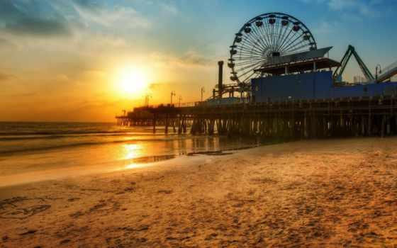 моника, санта, los, причал, закат, angeles, колесо, пляж, обозрения,