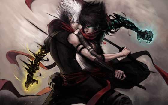 меч, катана, воин, белого, чёрного, black, оружие, взгляд, войны, магия,
