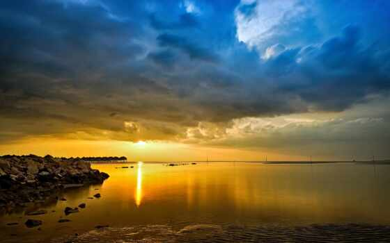 priroda, солнце, oblako, небо, more, горизонт, zakat, пляж, закат