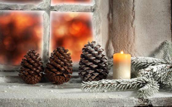 , шишки, свеча, , новый, праздники, рождество, новогодние,