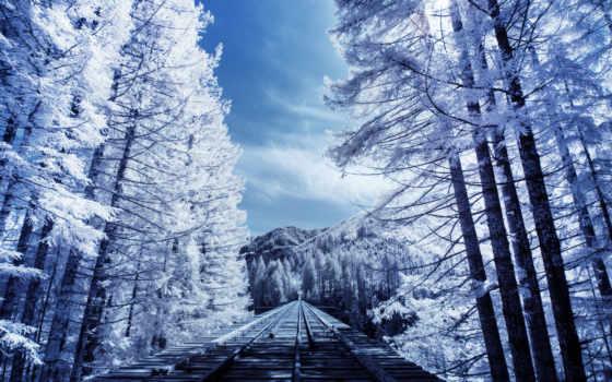 winter, путь, дорога, железная, жд, лес, tapety, taustapildid, красиво, горы, свет,