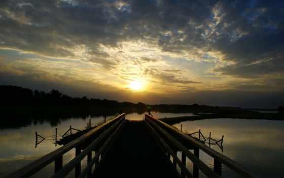 природа, full, water, вечер, мост, landscape, девушка, широкоформатные, аквариум,