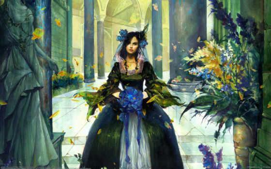 девушка, платье, devushki, fantasy, anime, castle, gothic,