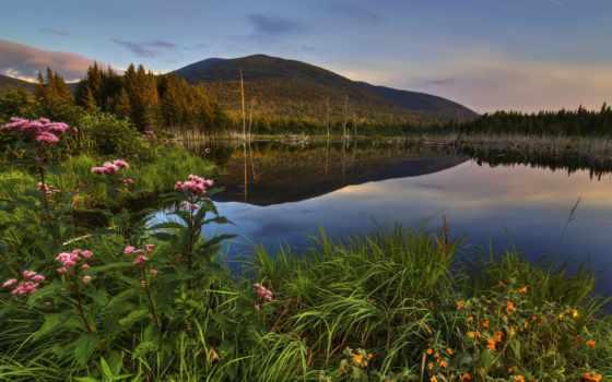 канада, quebec, scenery, природа, озеро, mountains, трава,