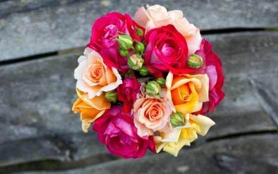 cvety, букет, розы, розовые, доски, желтые, букеты,