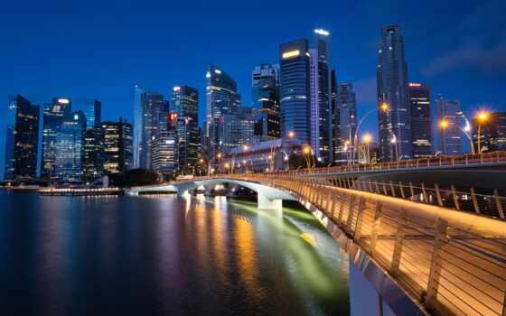 singapore, bay, марина, merlion, build, ночь, park, город, fountain