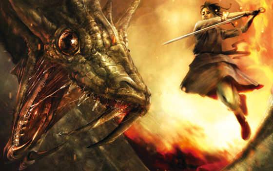 битва, фэнтези, ryohei, воин, hase, змей, дракон, коричневое, рисованное, fantasy, охотник, desktop, змея,