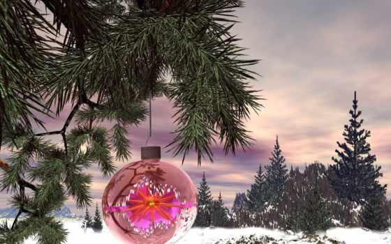 новогодние, дерево, рождественская