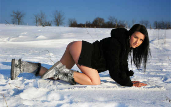 winter, снег, brunette