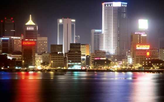 города, ночь, dubai
