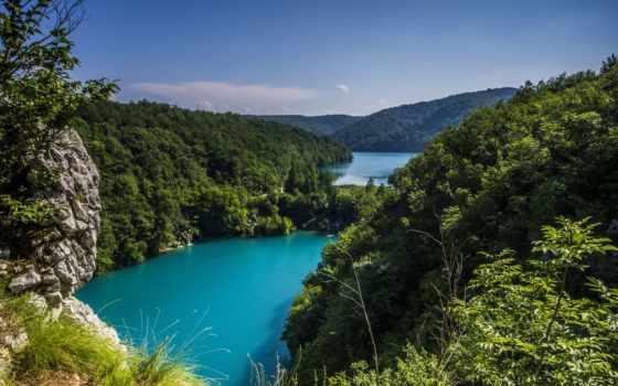 природа, горы, природы, море, хорватии, reki, моря, trees, небо, плитвицкие, пейзажи -,