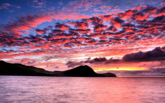 закат, небо, горы, рассвет, море, oblaka, силуэт, заката,