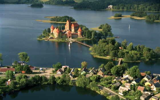 trakat, литва, castle, litovskii, город, vilnius, тракайский, старинный, княжество, столица, отдых