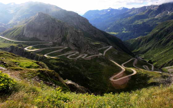 горы, дорога, природа