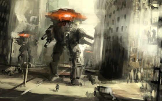 фантастика, город, оружие