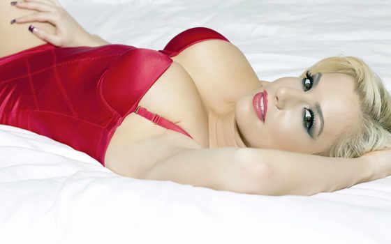 красное, белье, девушка, blonde, mariah, madysin, глаза, улыбка,