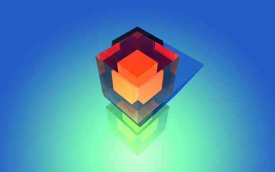 куб на голубом фоне