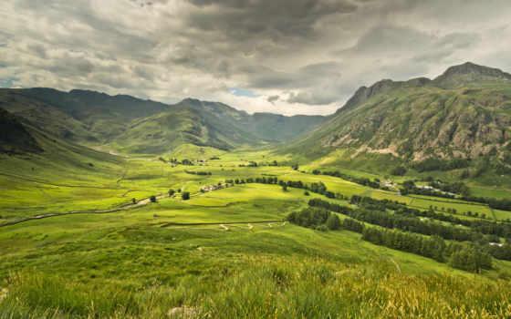 горы, луга, небо, дома, природа, лес, долина,