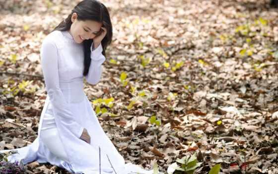 девушка, лес, brunette, природа, листва, картинка, азиатка, ngoc, лан,
