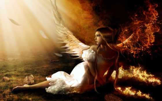 девушка, angel, огне, fantasy, огонь, angels, падшего,