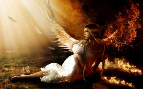 девушка, angel, огне