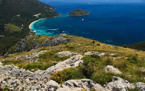 горы, взгляд, height, bay, туры, море, отдых, просторы, камни, сверху, катера,
