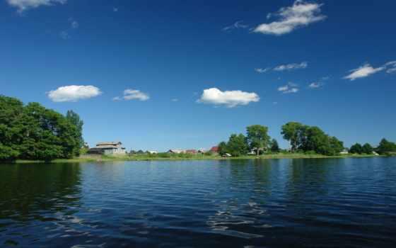 природа, россии, места, отдыха, дома, фотообои, деревня, река, russian, небо, красивые,