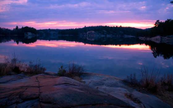 озеро, закат, скалистый, desktop, берег, widescreen,