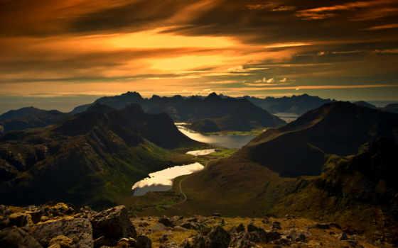 закат, красивый, горы, природа, коллекциях, яndex, card, коллекции, острова,