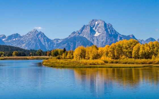гора, сша, озеро, лес, река, wyoming, trees, осень, park, national, teton