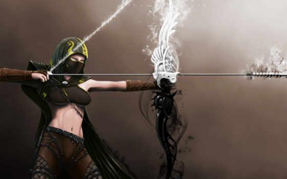 стрела, девушка, лук, fantasy, картинку, mujer, картинка, que, los, arco, descargas, flecha, tinnu, guild, wars,