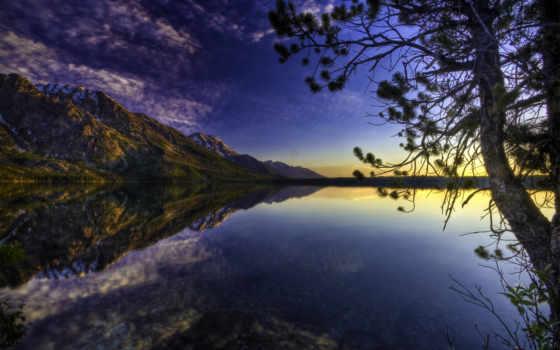 lake, nature