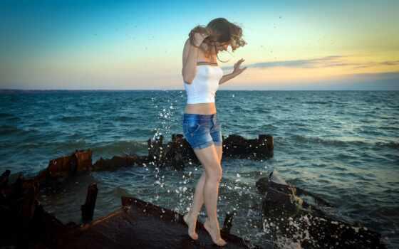 море, девушка, blonde