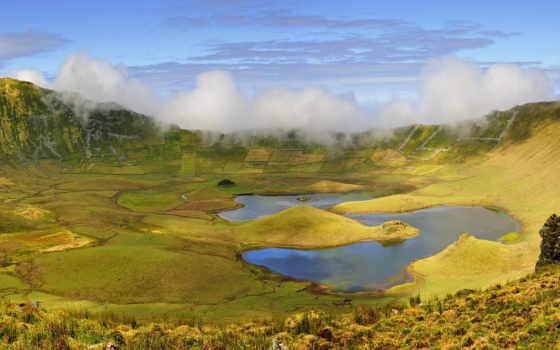 corvo, португалия, острова, азорские, azores, природа, высокого, crater, озеро, корво,