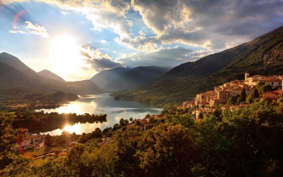 озеро, барреа, italian, горы, italy, aquila, утро, abruzzo, дома,