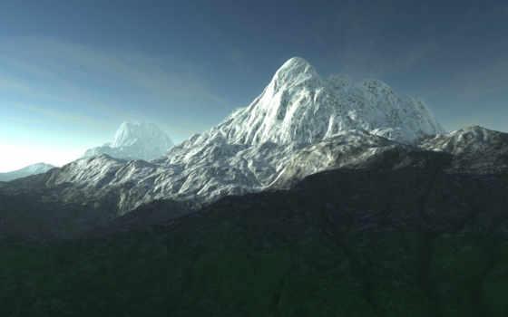 горы, снежные, красивые, графика, природа, без, гора,