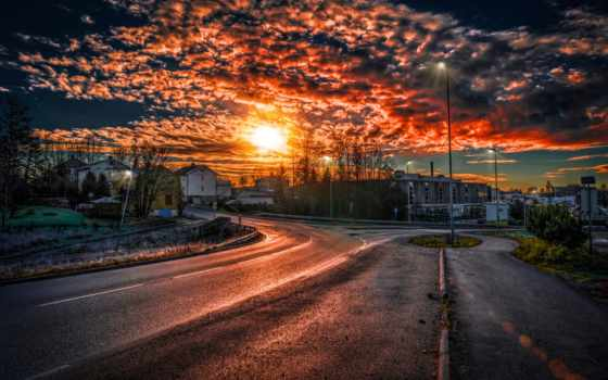 дорога, закат, landscape, город, высоком, norwegian, качестве, тольятти, базе,