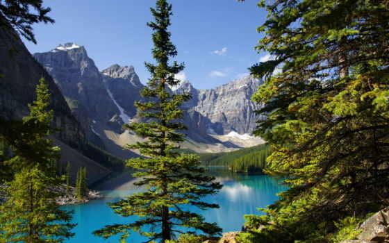 озеро, природа, категория, широкоформатные, красивая, pin, trees, канадский, горы,