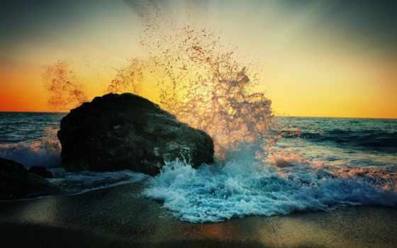 пляж, море, рассвет, берег, камень, брызги, pin, pictures,