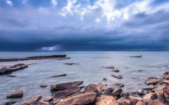 ocean, камни, небо, море, берег, тучи, синее, серое, oblaka,