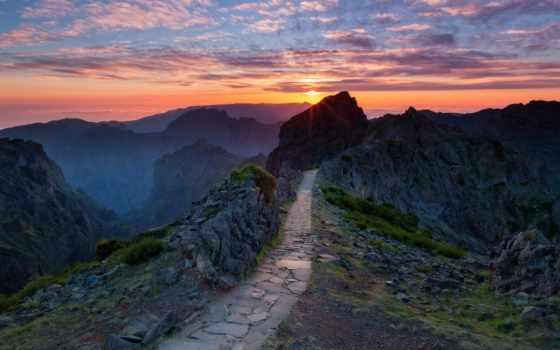 горы, тропинка, горах, гребне, ведет, дороги, выложенная, камнем, standards, sun,