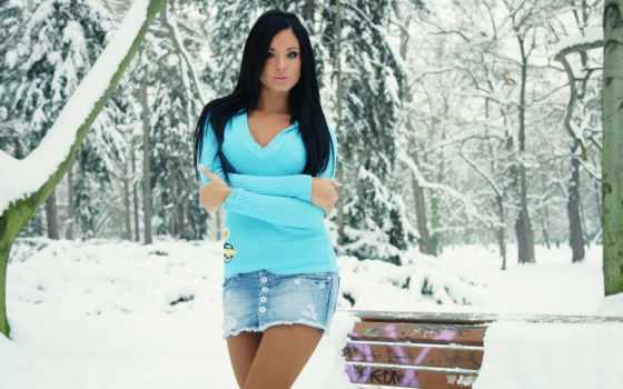 devushki, зимой, девушка, лесу, winter,