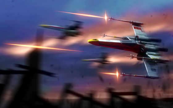 wars, star, крыло, фантастика, ships, firing,