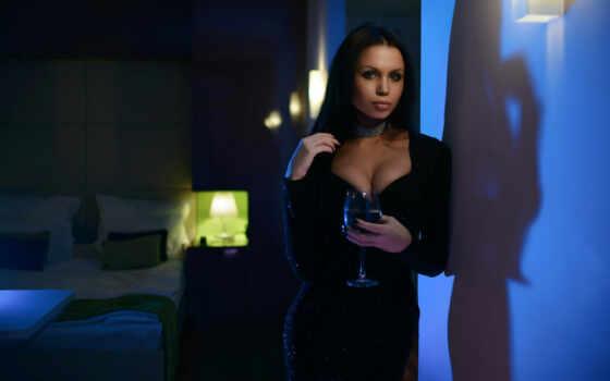shabunin, anton, женщина, cleavage, модель, напиток, glass, blue
