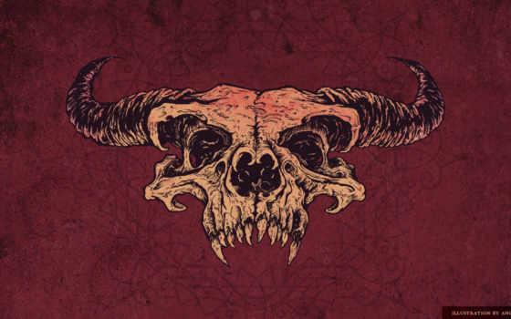 череп, рисунок, красный