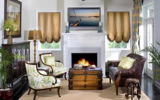 каминь, между, мебель, dizain, interer, okno, окна, гостиная, интерьере, камином, перегородкой, от, комната, служит, зонами,