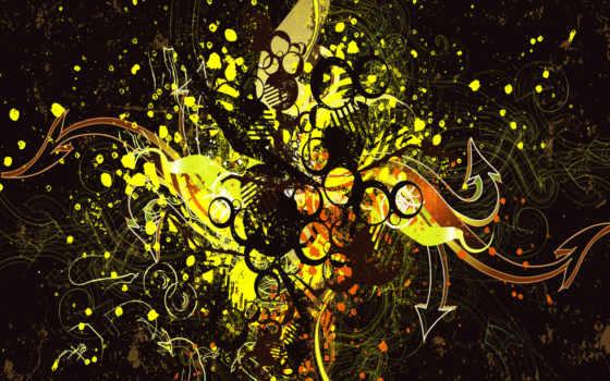 abstrakciya, vektor, bryzgi, краска, капли,