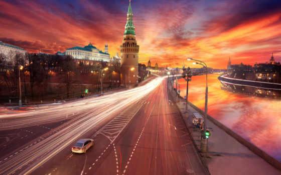 закат, москва, кремль, обработка, город, москве,